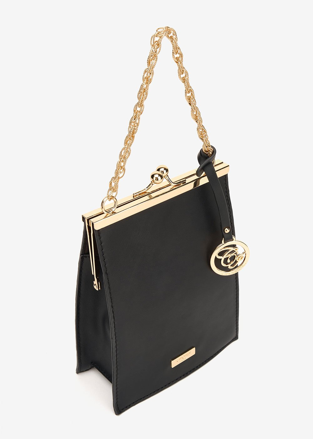 Becky clutch bag with click clac closure - Black - Woman