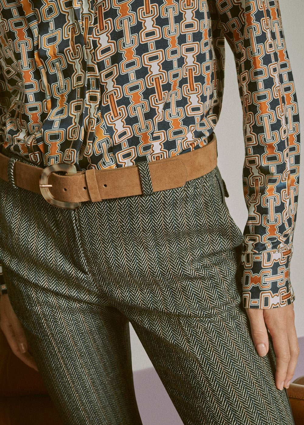 Caryn belt with spotted buckle - Taupe - Woman