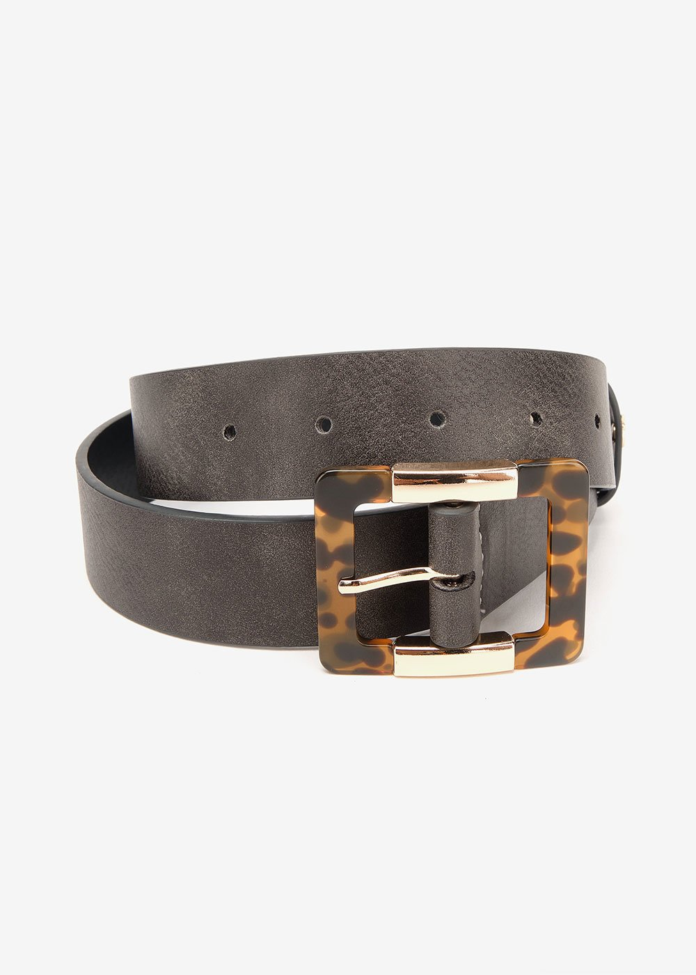 Crys belt with animal-printed buckle - Black - Woman
