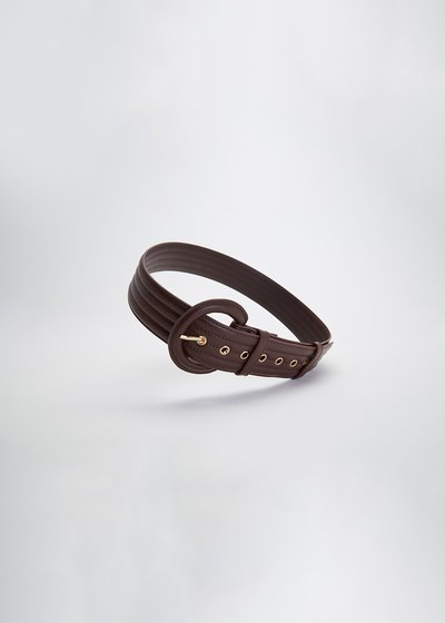 Clay quilted belt