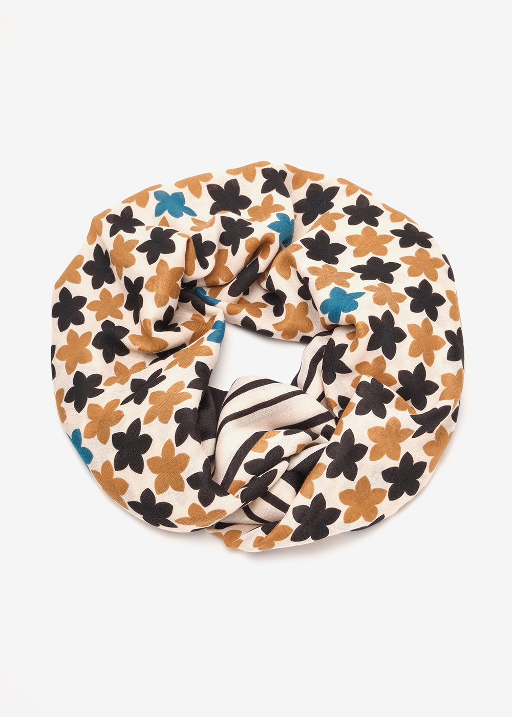 Siham scarf with floral pattern - White /  Black Fantasia - Woman