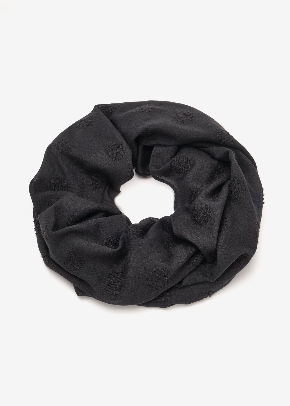 Shanon scarf with tone-on-tone embroidery - Black - Woman