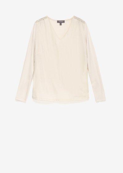 T-shirt Shery scollo a V con dettaglio cristalli sulla spalla