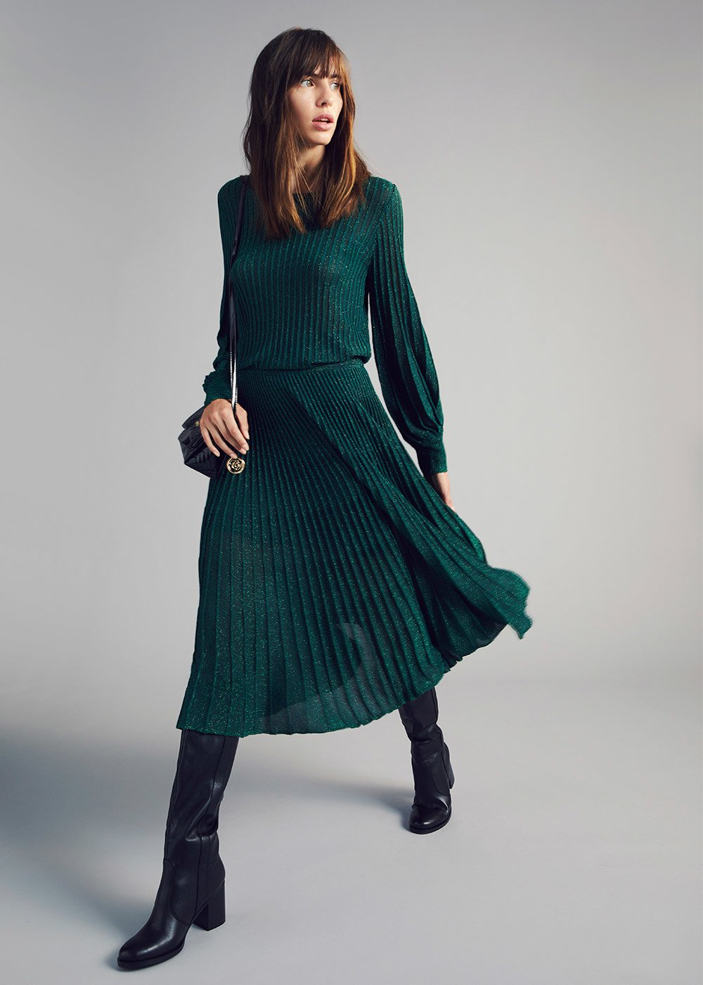 Crew-neck lurex sweater with puff sleeves - Green - Woman