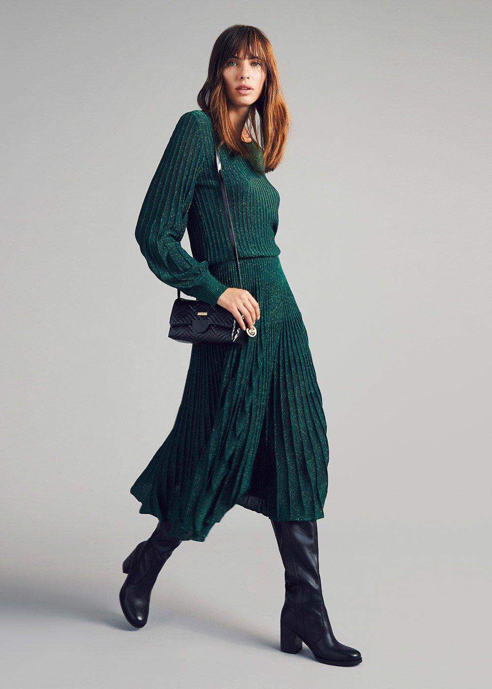 Lurex circle skirt - Green - Woman