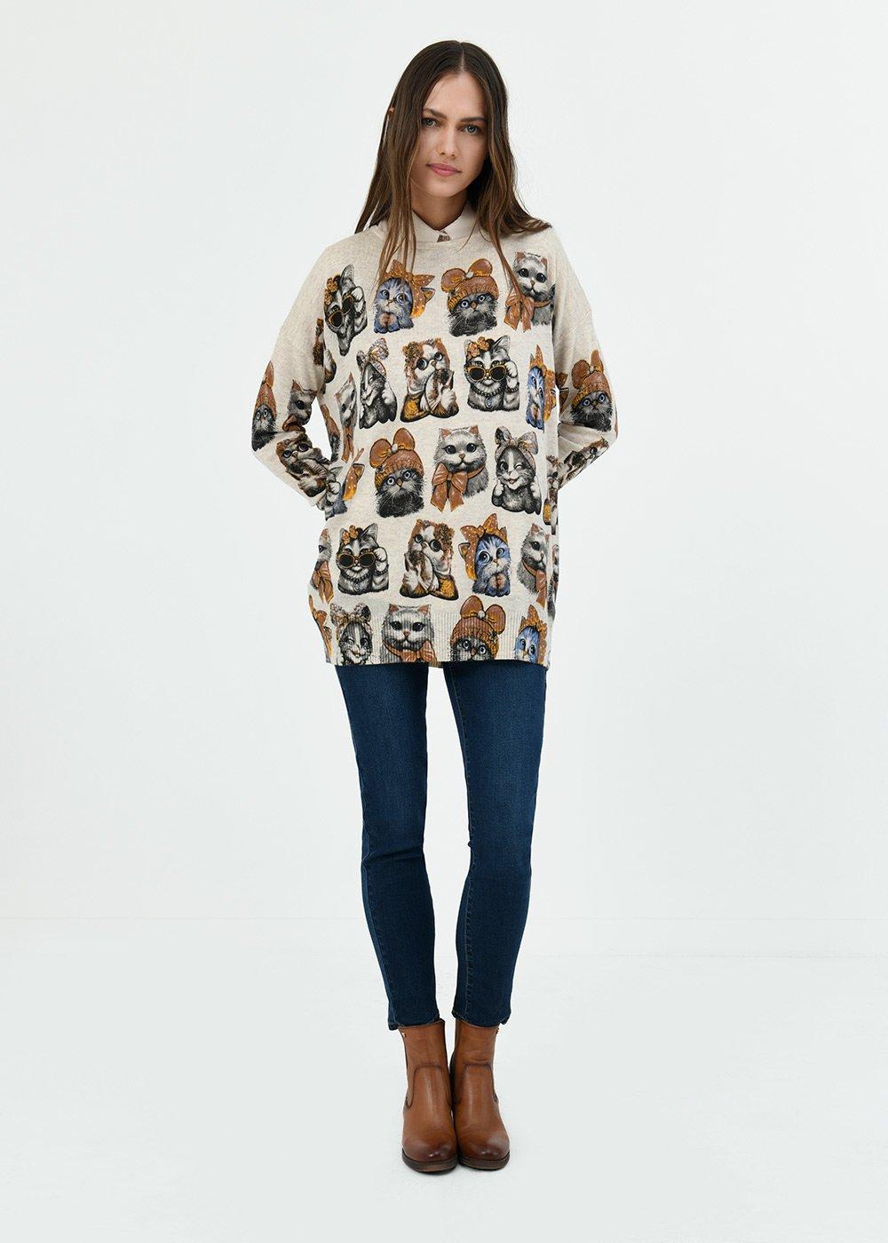 Monique T-shirt with cat print - Light Beige\ Black\ Fantasia - Woman
