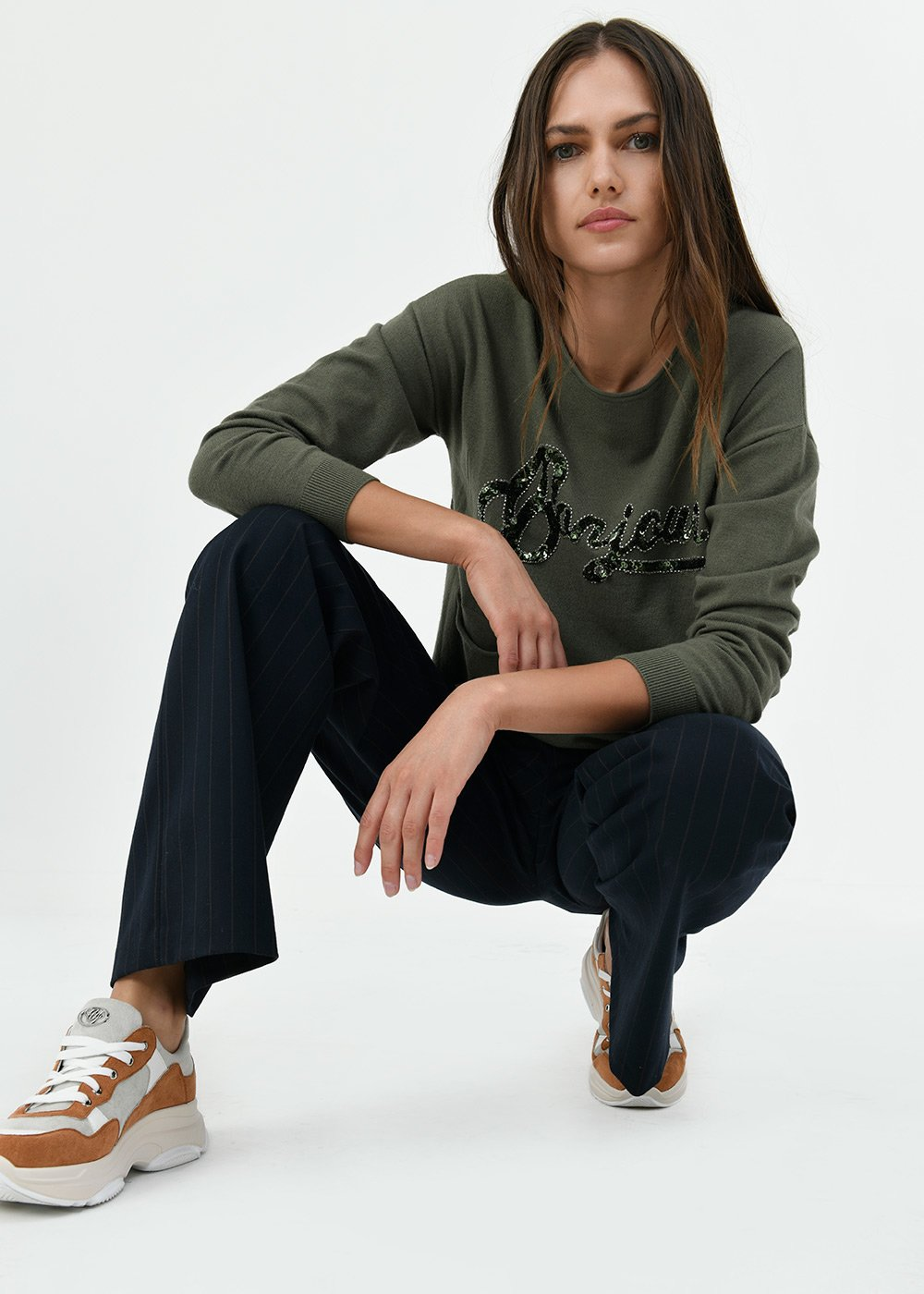 Maira sweater with lettering detail - Green - Woman