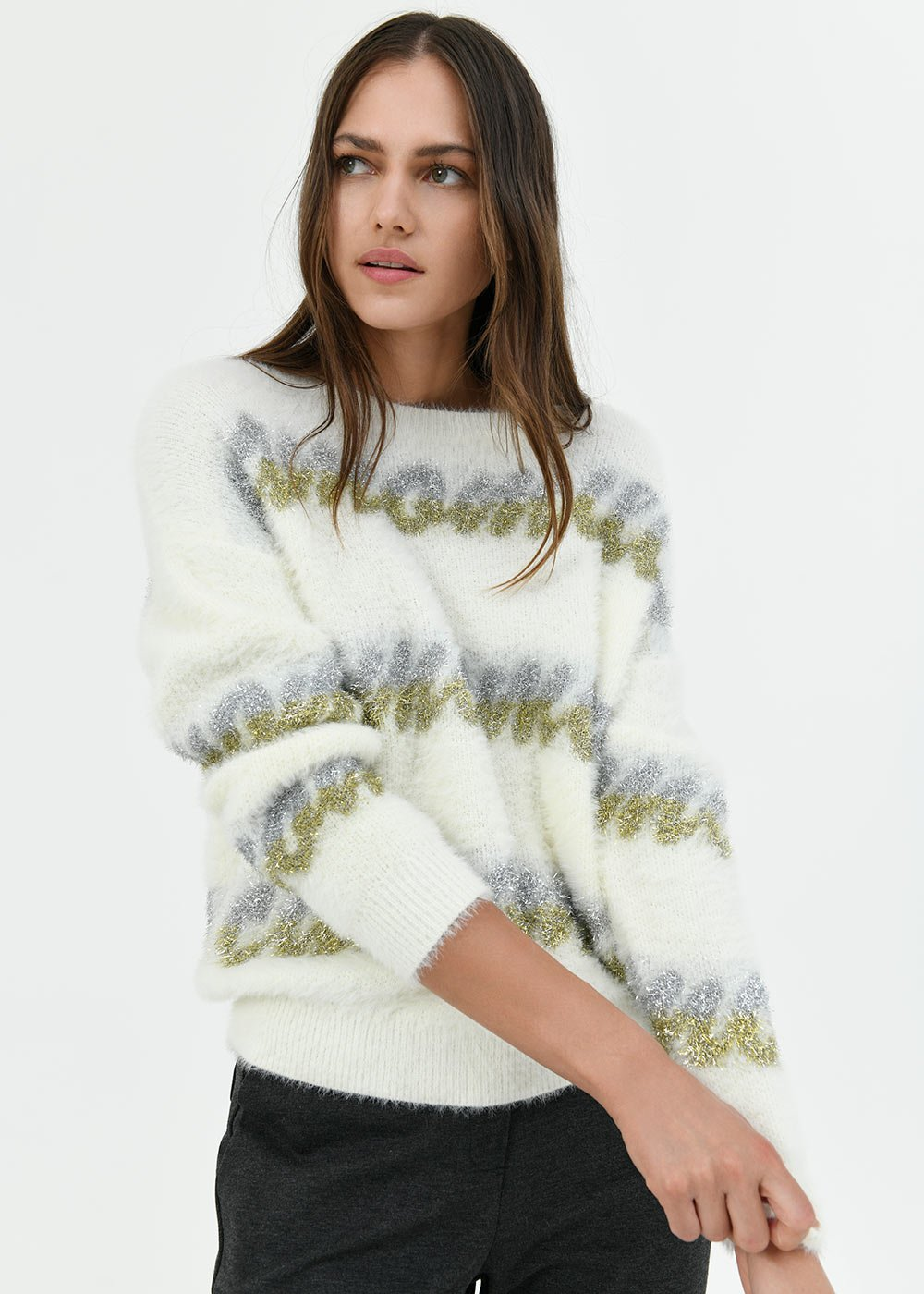 Maddy fur-effect sweater - Off White\ Lurex - Woman