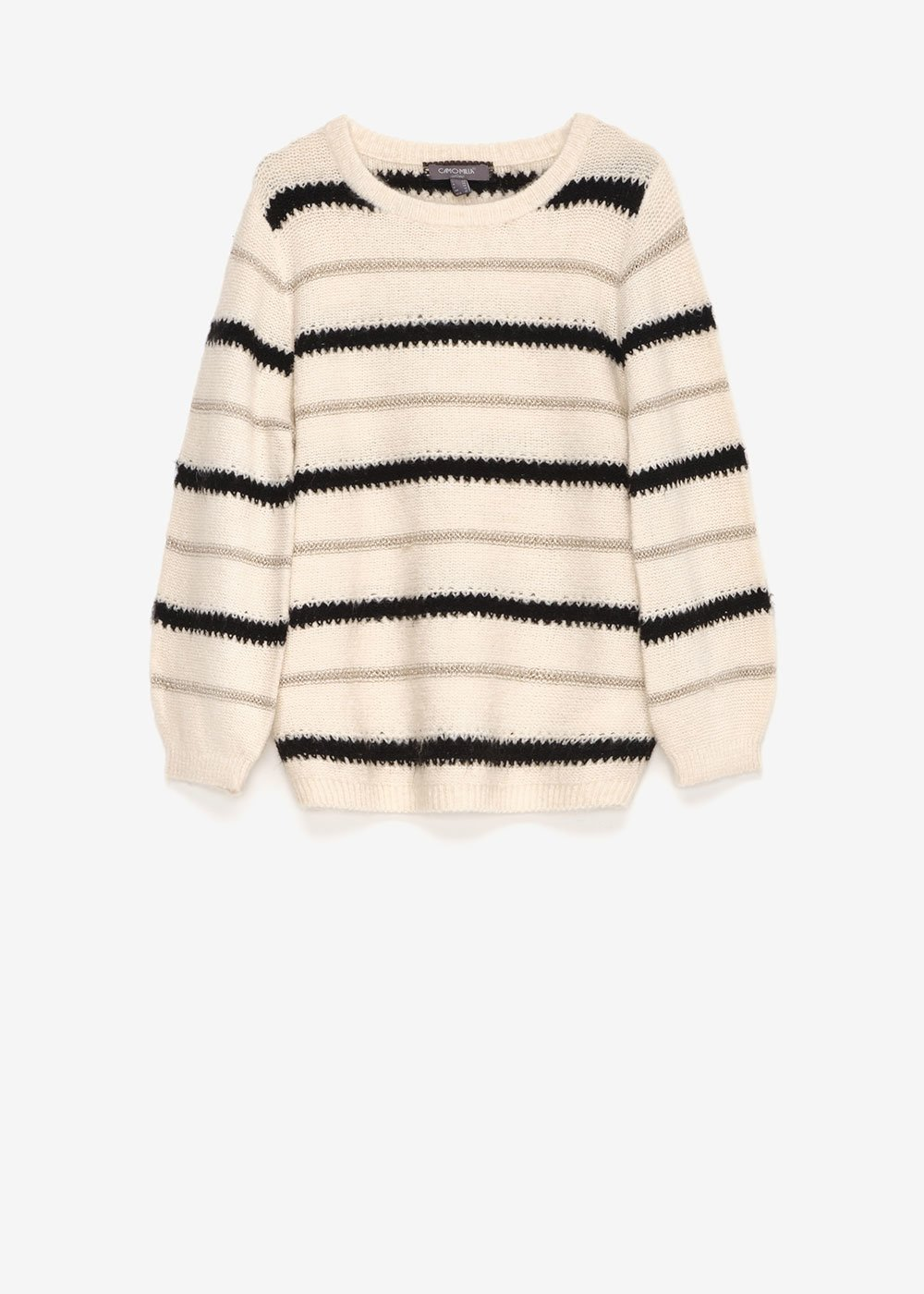 Mia round-neck striped sweater - Off White\ Black\ Stripes - Woman