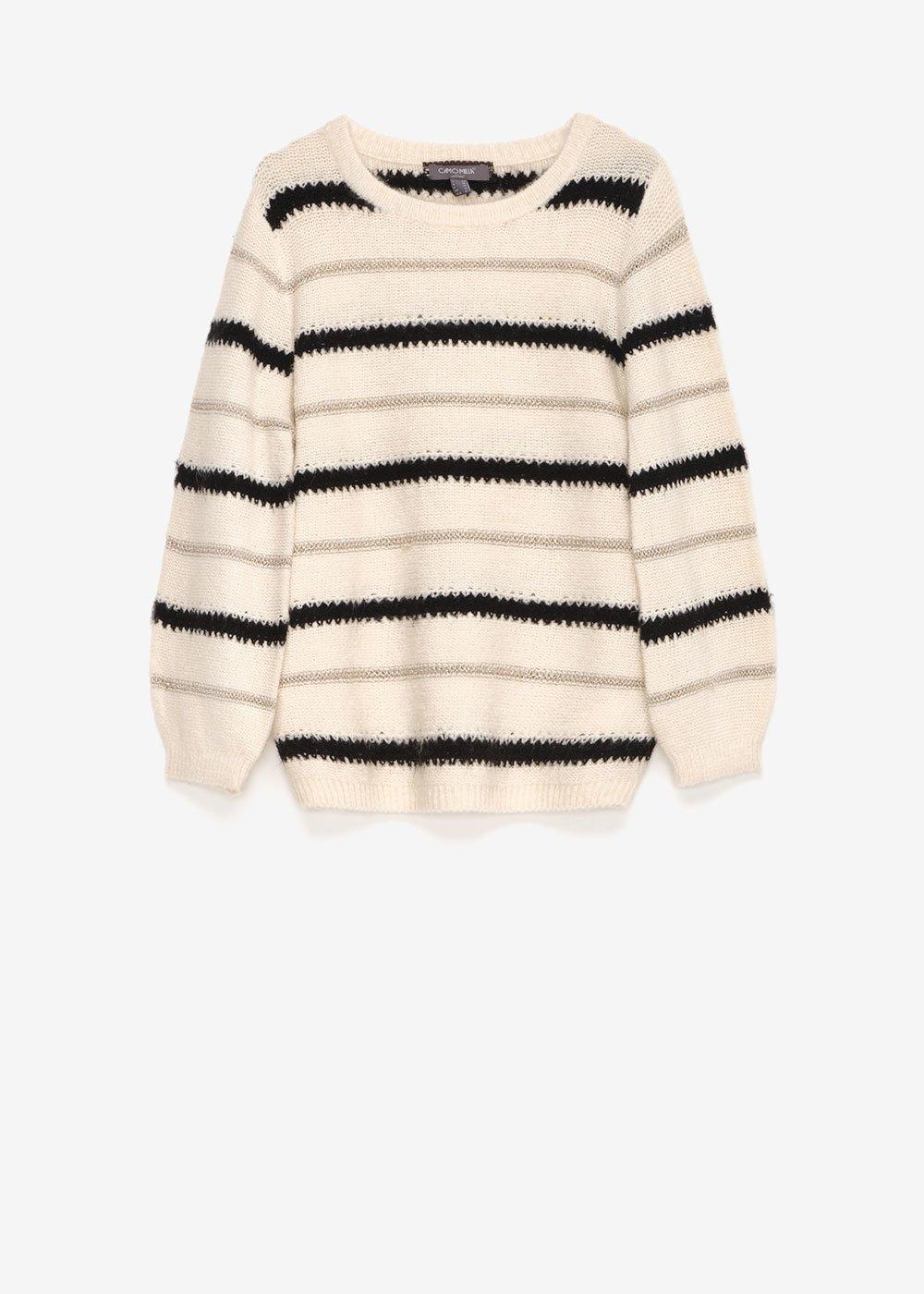 Mia round-neck striped sweater - Off White\ Black\ Stripes - Woman