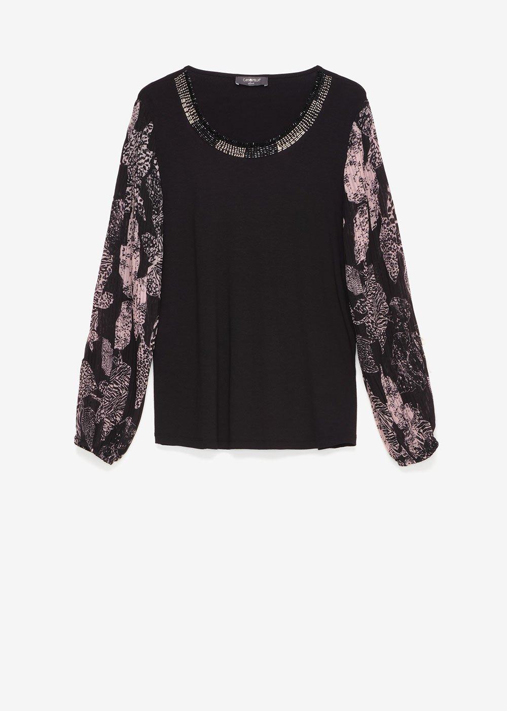 Samir T-shirt with georgette sleeves - Black - Woman