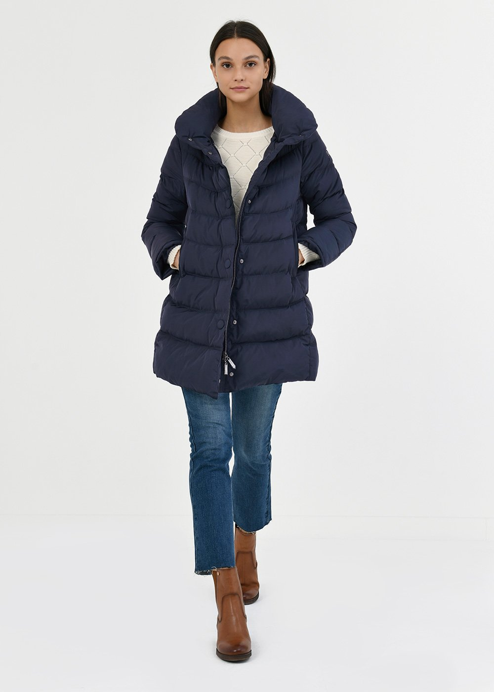 Pilar down jacket with detachable hood - Ultramarine - Woman