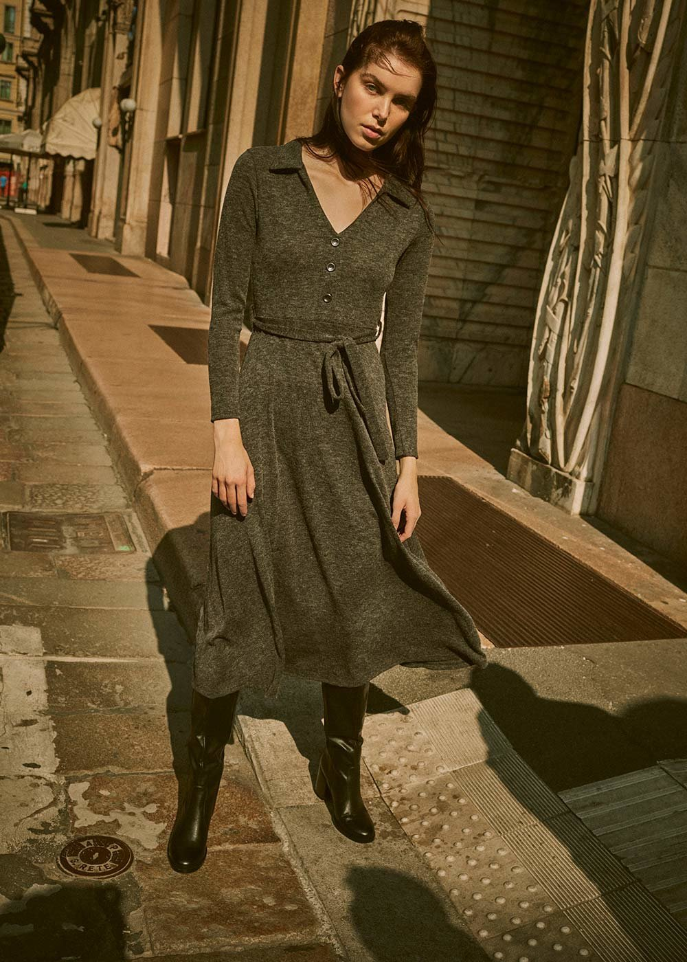 Avril knitted dress - Anthracite - Woman