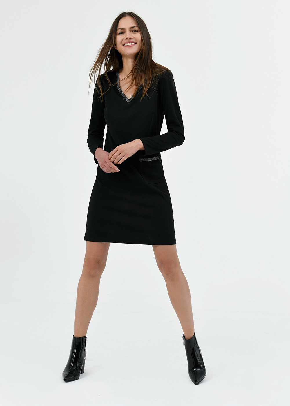 Athos v-neck dress - Black - Woman