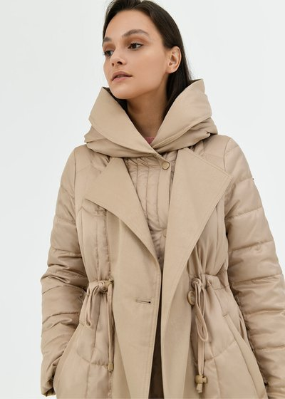 Paige trench coat-model bi-material down jacket