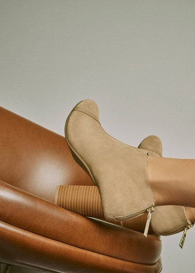 Shirely ankle boot with wood-effect heel