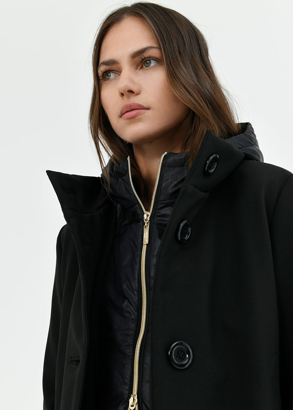 Carlin padded coat with hood - Black - Woman