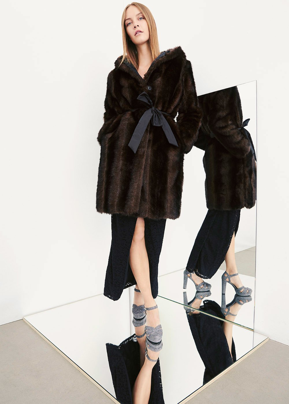 Pedro reversible fur coat - Brown/black - Woman