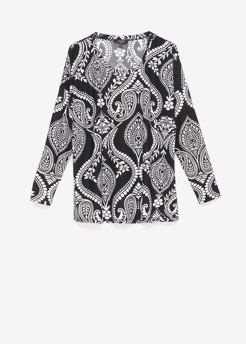 Shana T-shirt with paisley pattern - Black / White / Multi - Woman