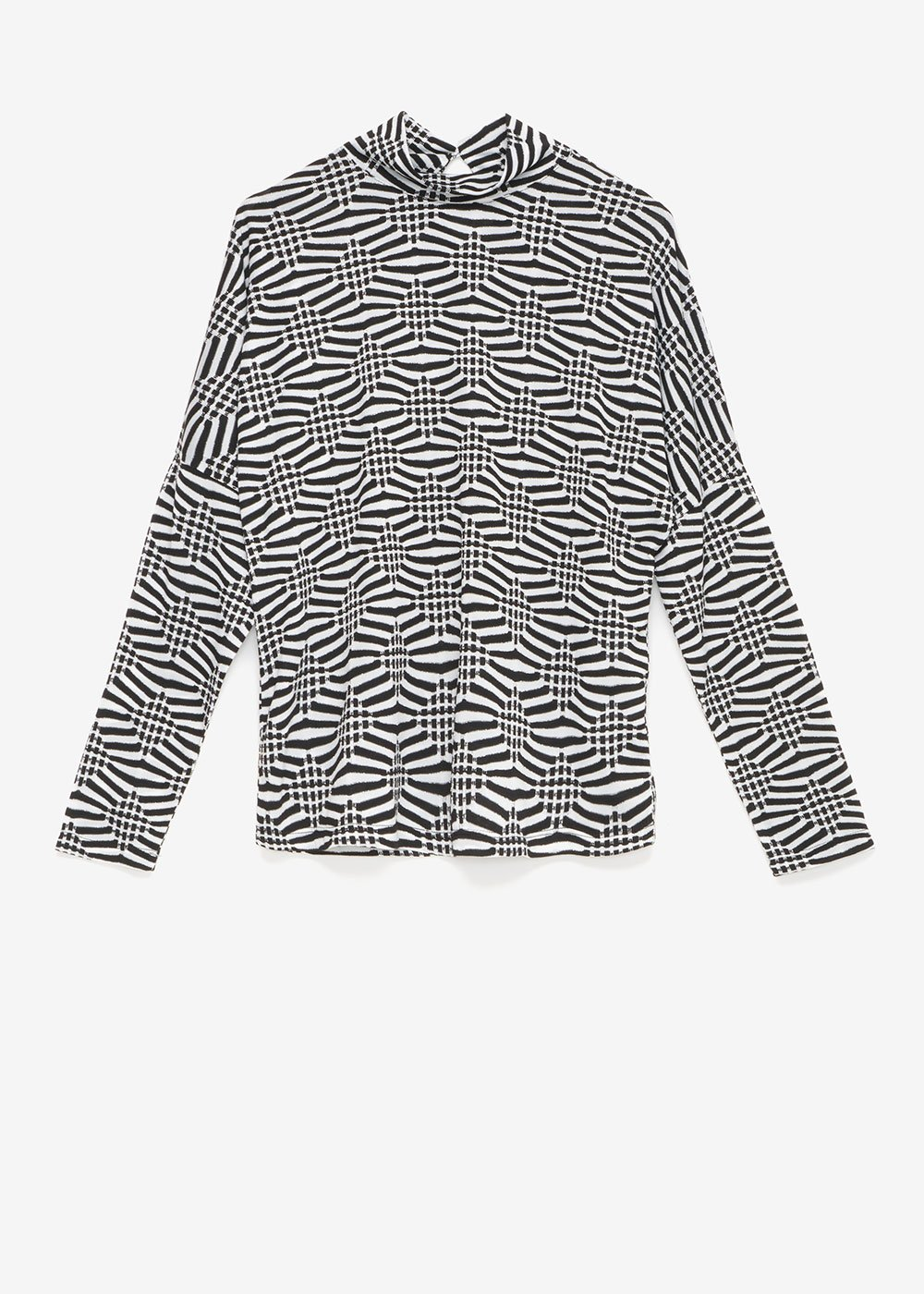 Sheila T-shirt with black and white pattern - Black / White / Multi - Woman