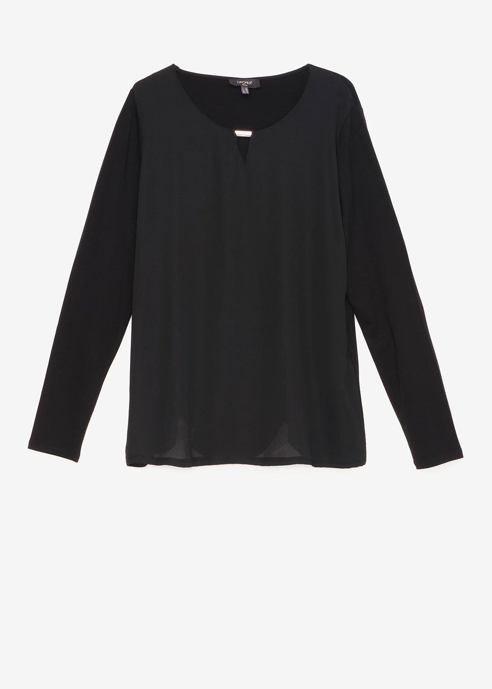 T-shirt Shari in doppio tessuto - Black - Donna