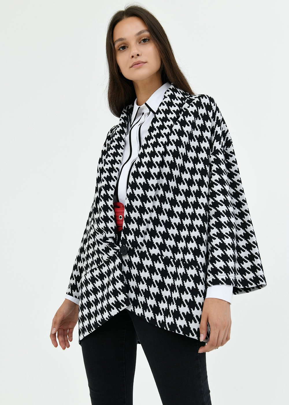 Clio black and white cardigan - White /  Black Fantasia - Woman