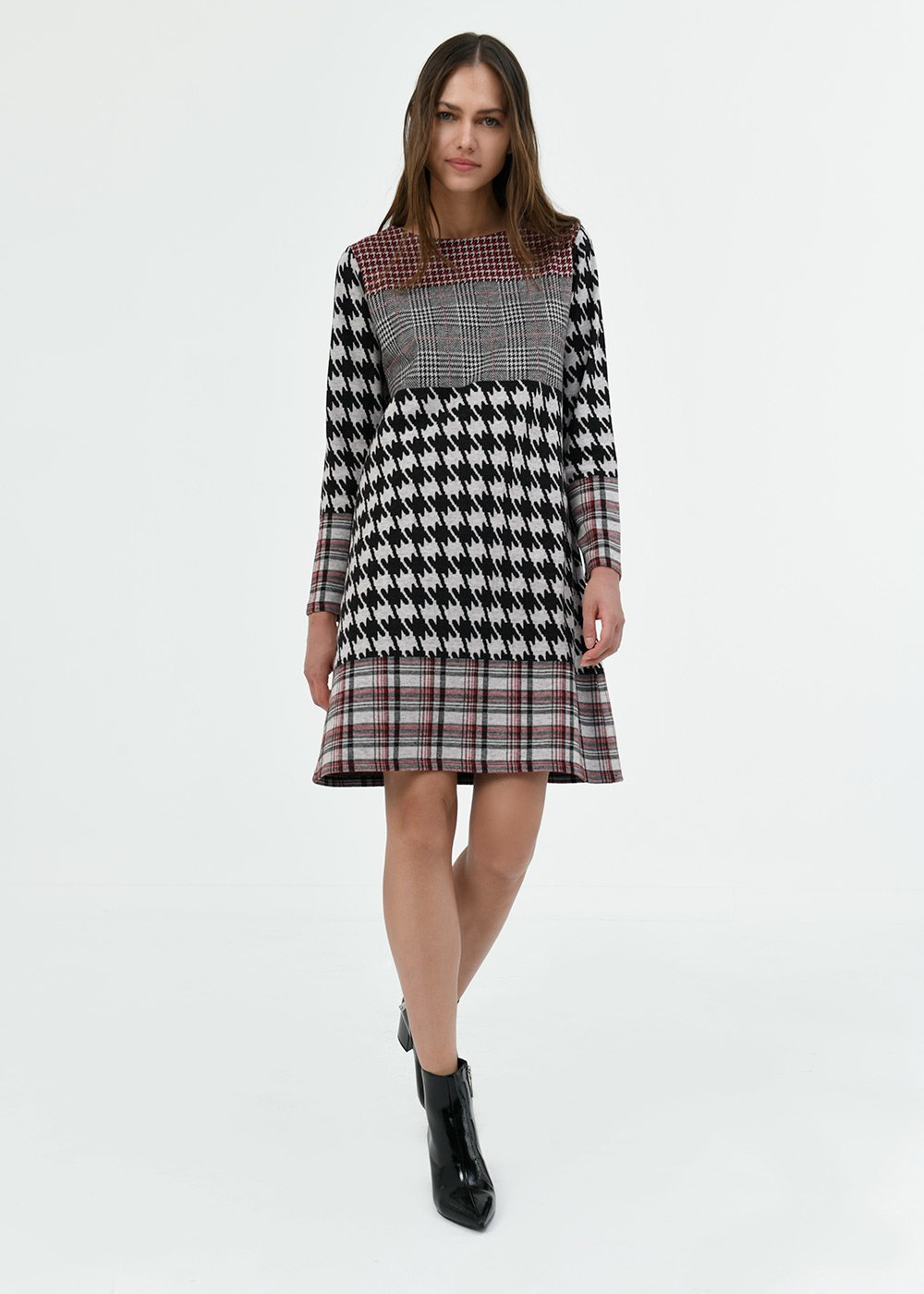 Alvin dress with mixed pattern - Black / White / Multi - Woman