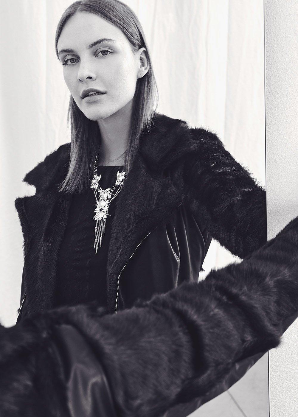 Giubbotto Grys in eco pelle con manihe di eco pelliccia - Black - Donna
