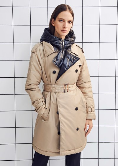 Paryl trench coat-model down jacket