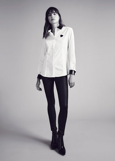 Camelia shirt with sequin detail