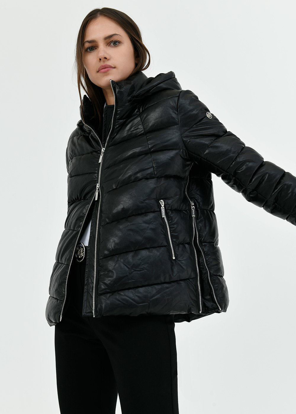 Peter faux-leather down jacket - Black - Woman