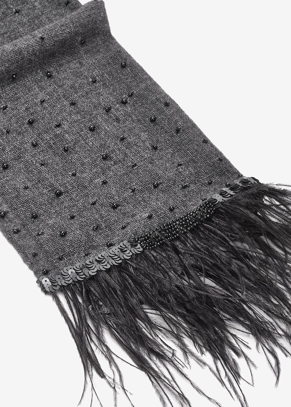Sibilla scarf with feathers on hem - Anthracite - Woman
