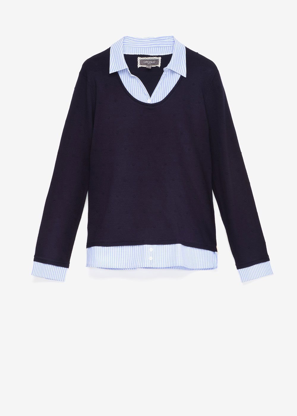 Maggy two-in-one sweater - Blue \ White\ Stripes - Woman