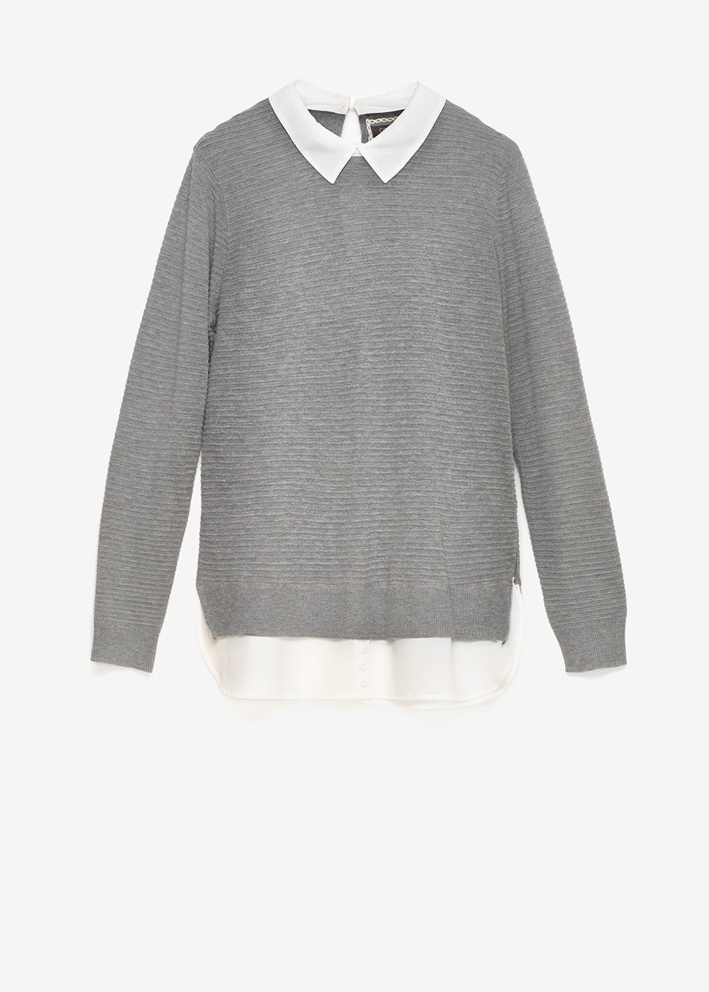 Marika two-in-one sweater - Grey Melange\ White - Woman