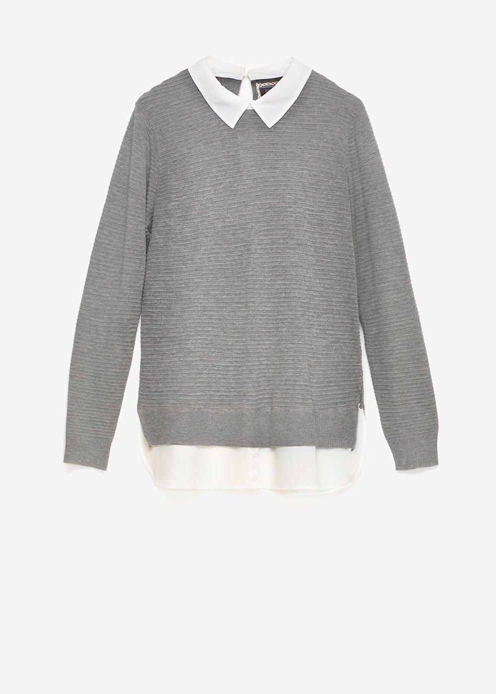 Marika two-in-one sweater - Grey Melange\ White - Woman