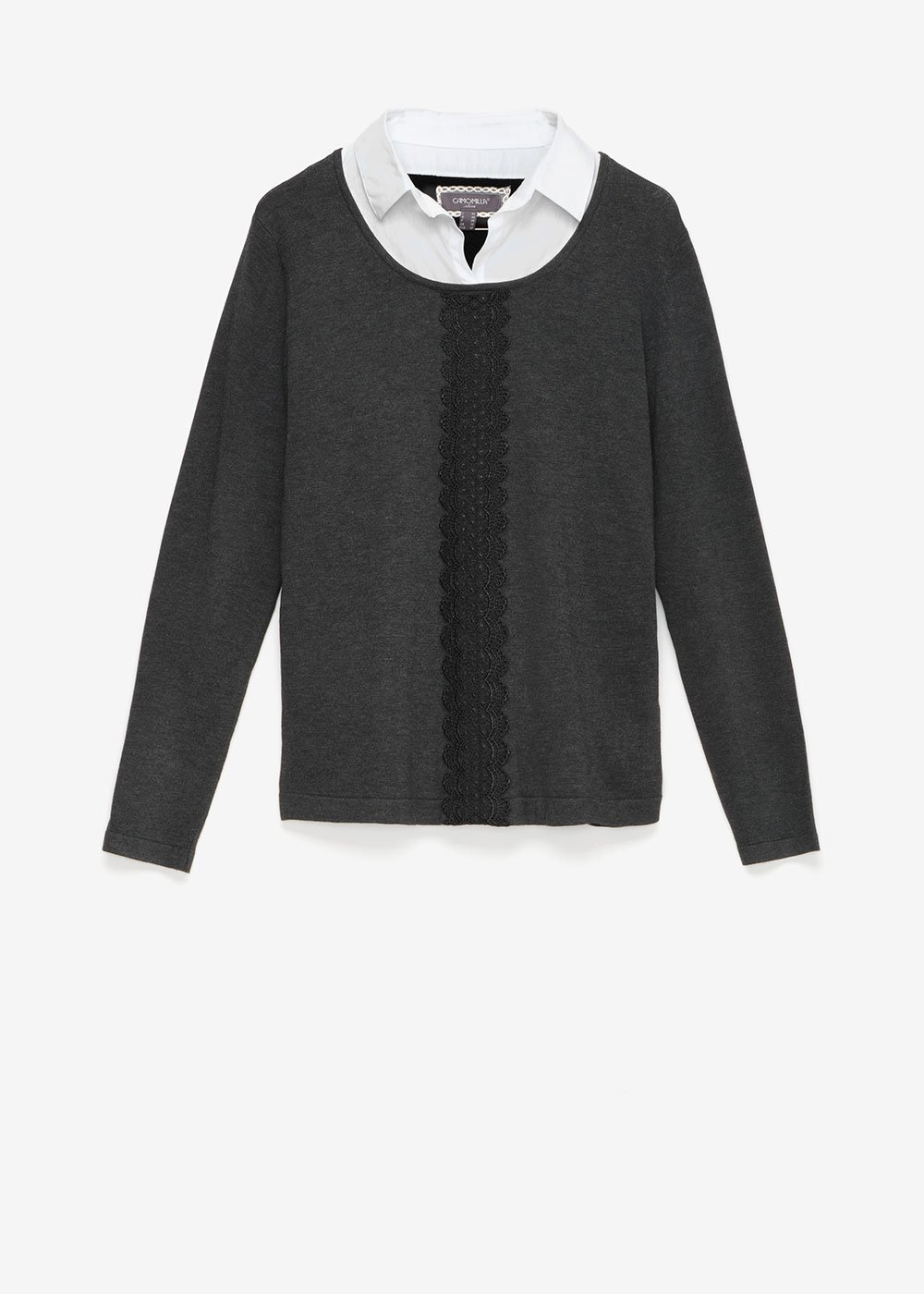 Martina two-in-one sweater with lace detail - Dark Grey Melange\ White - Woman