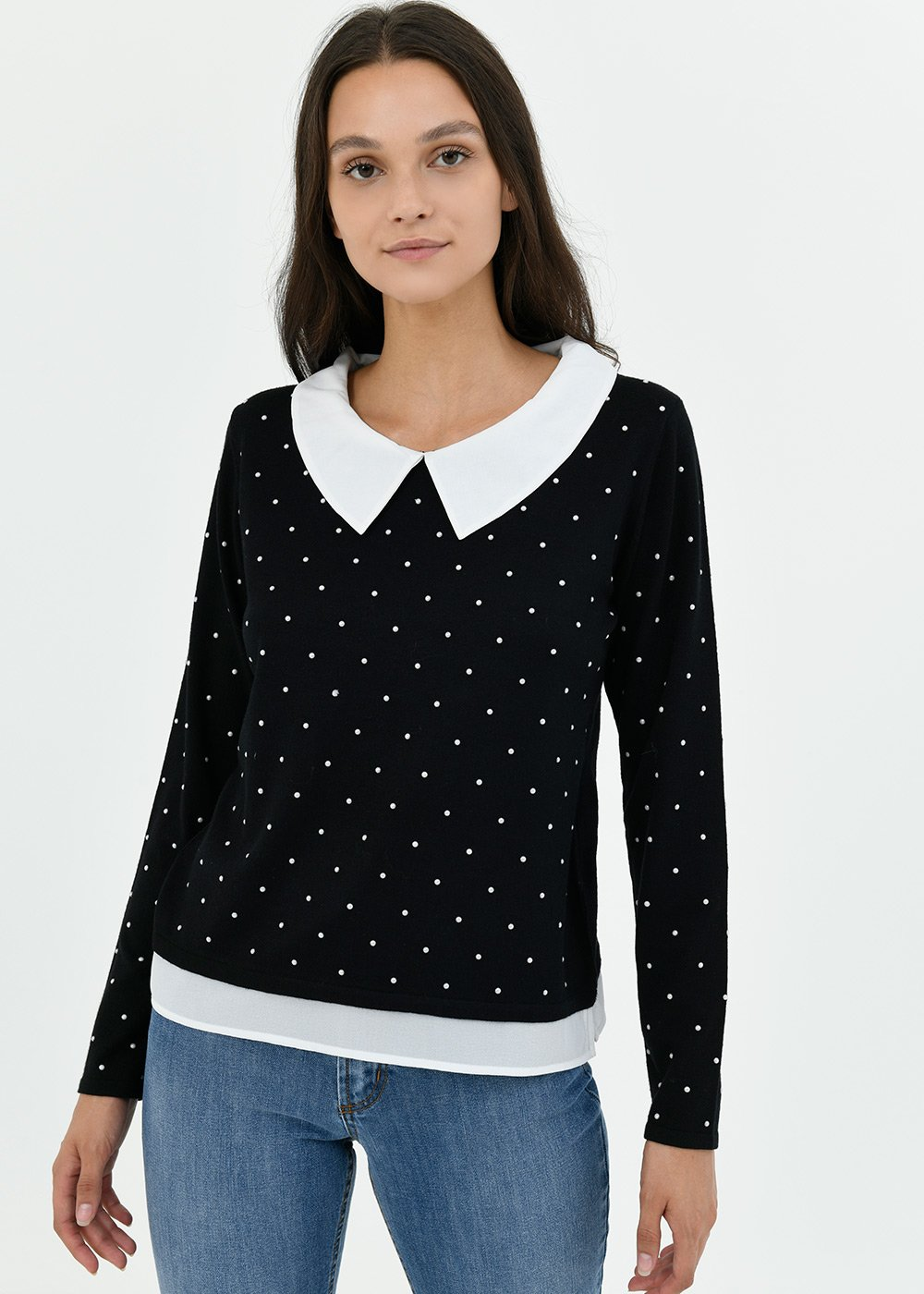 Marzia two-in-one sweater with stud detail - Black / White Pois - Woman