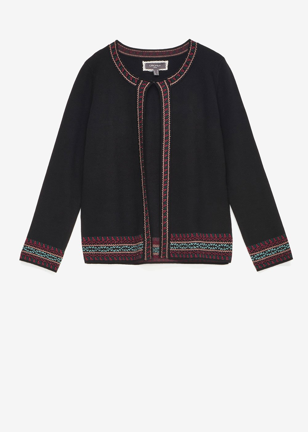 Clark shrug with jacquard embroidery - Black - Woman