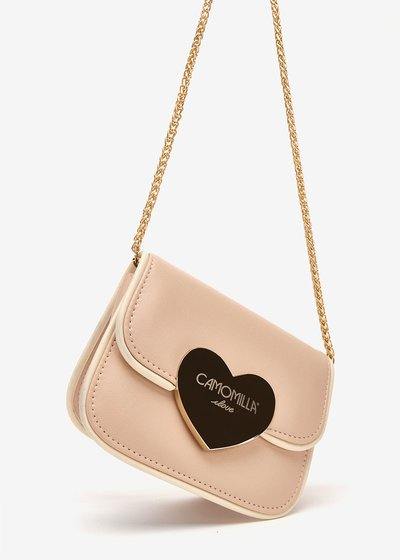 Biping clutch bag with macro heart-shaped closure