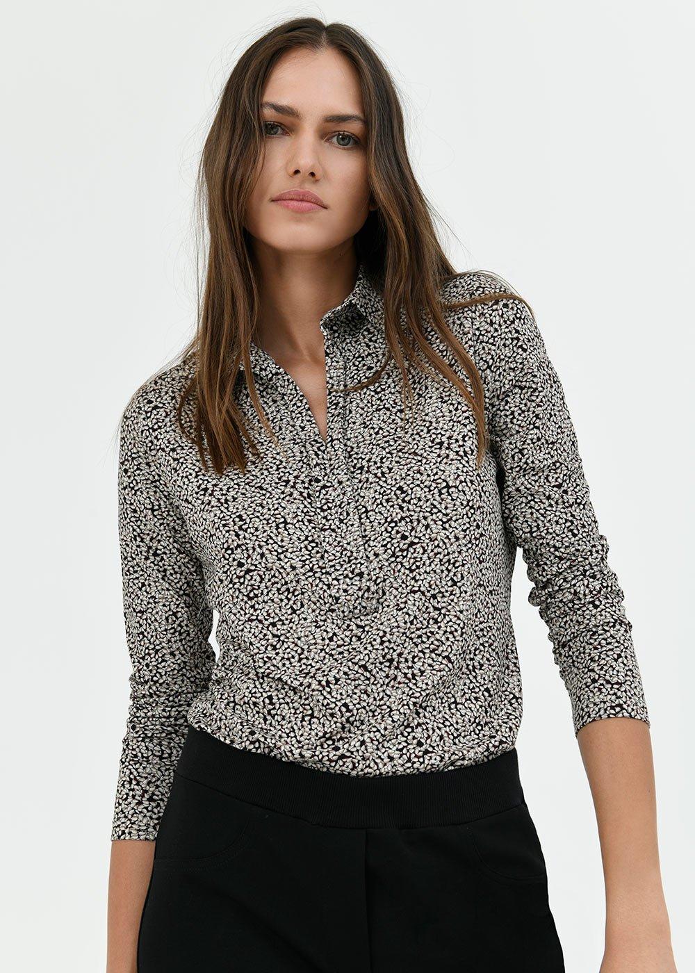 T-shirt Sheyla con colletto - Black / White / Fantasia - Donna