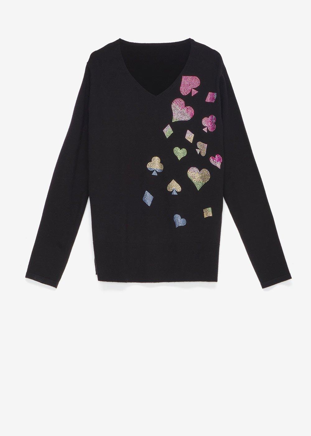 Maryl sweater with rhinestone appliqué - Black - Woman