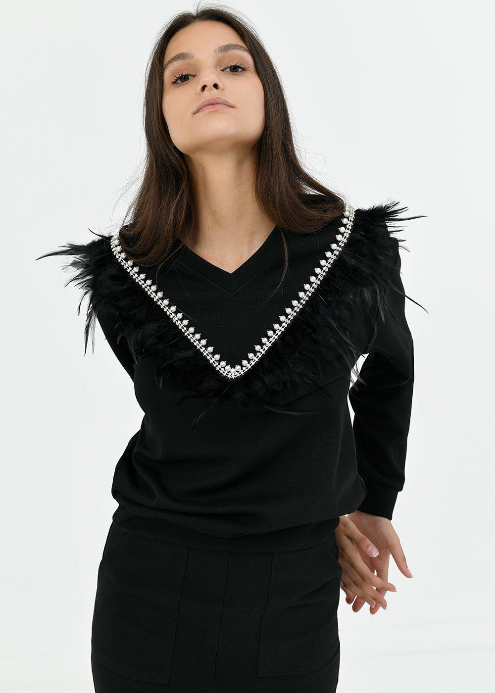 Sonya sweatshirt with feather detail - Black - Woman