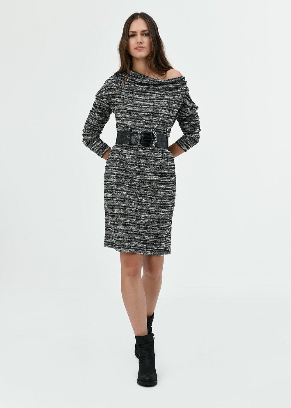 Andres jacquard dress with waist belt - Black / White / Multi - Woman