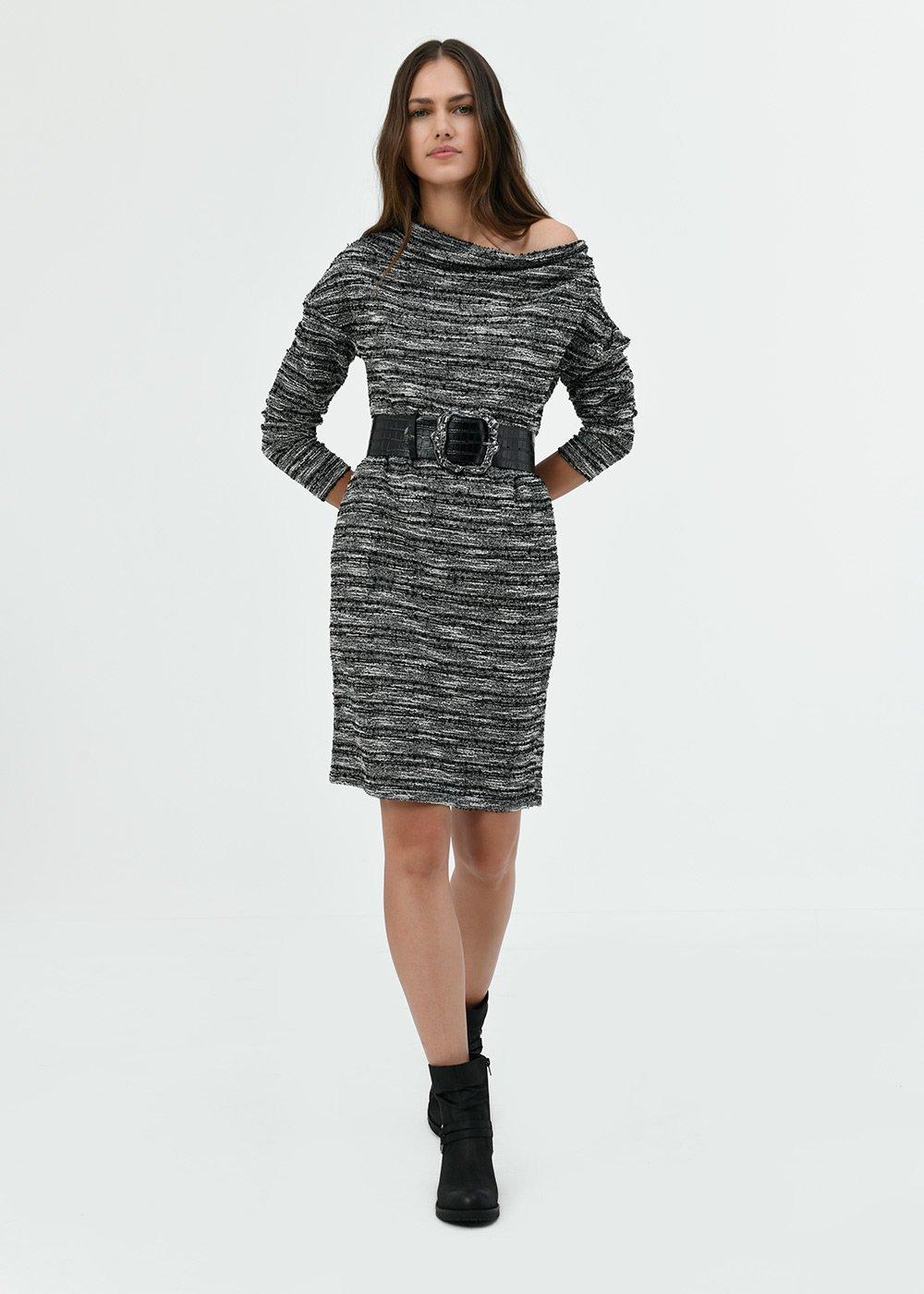 Andres jacquard dress with waist belt - Black / White / Multi - Woman