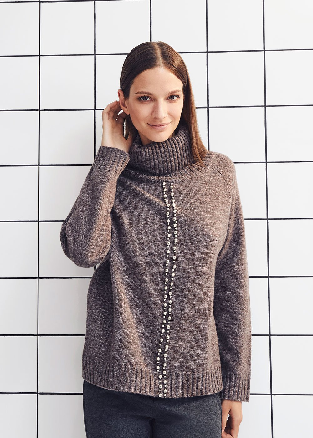 Marisa turtleneck sweater with studs - Taupe - Woman