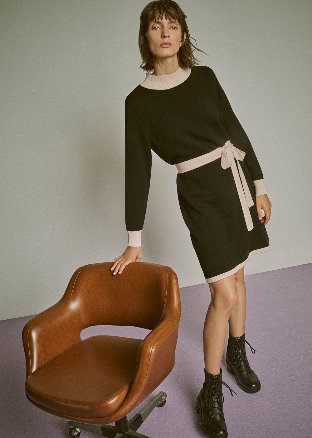 Achille two-tone dress - Black / Nudo - Woman