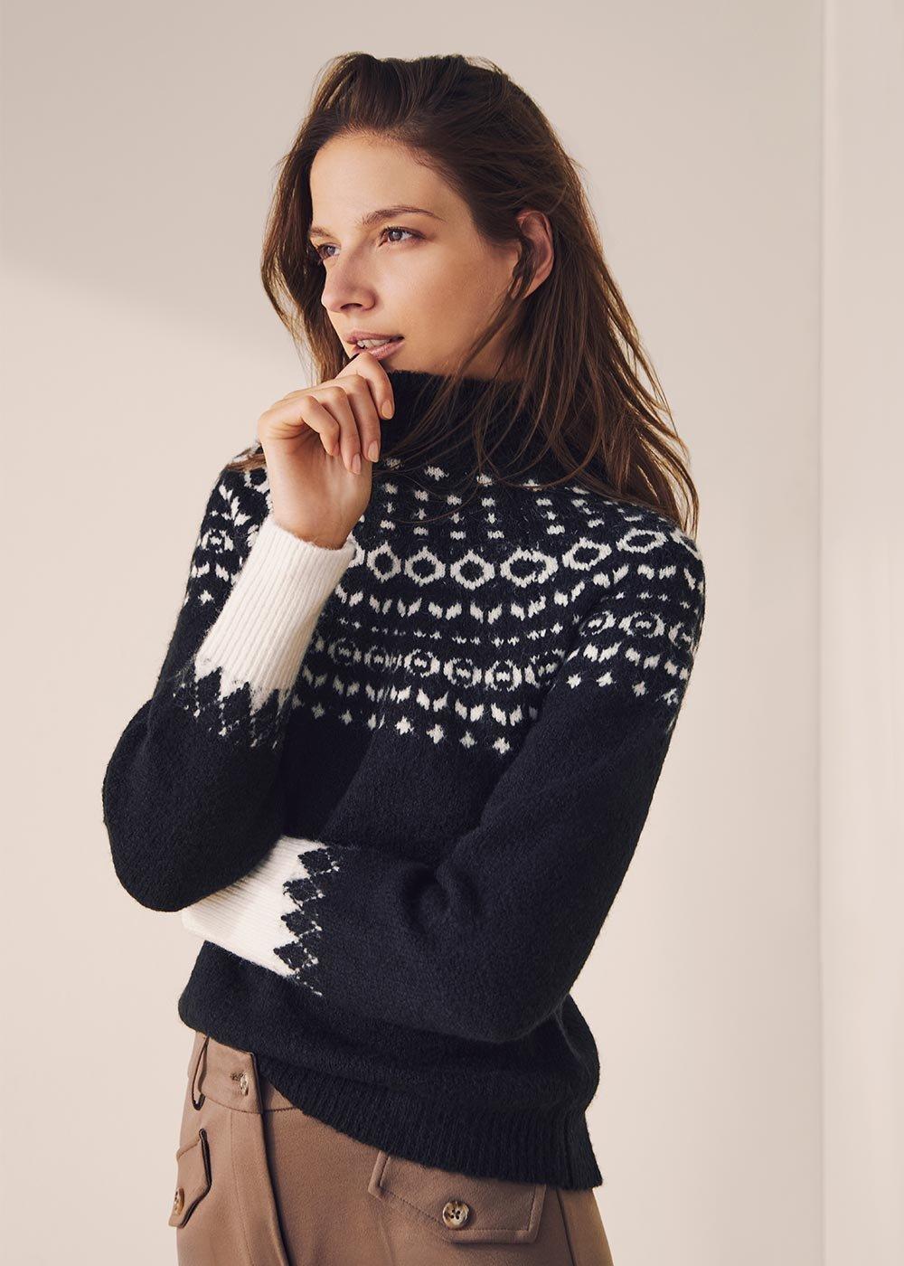 Mikela wool sweater with Norwegian pattern - Black / White / Multi - Woman