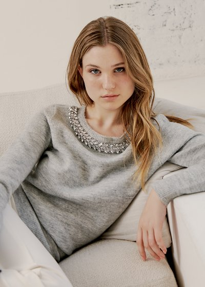 Maida Sweater with Round Neckline and Strass