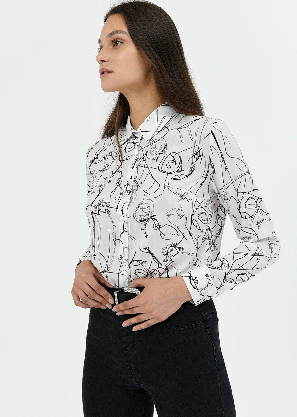 Alessia patterned shirt - White /  Black Fantasia - Woman