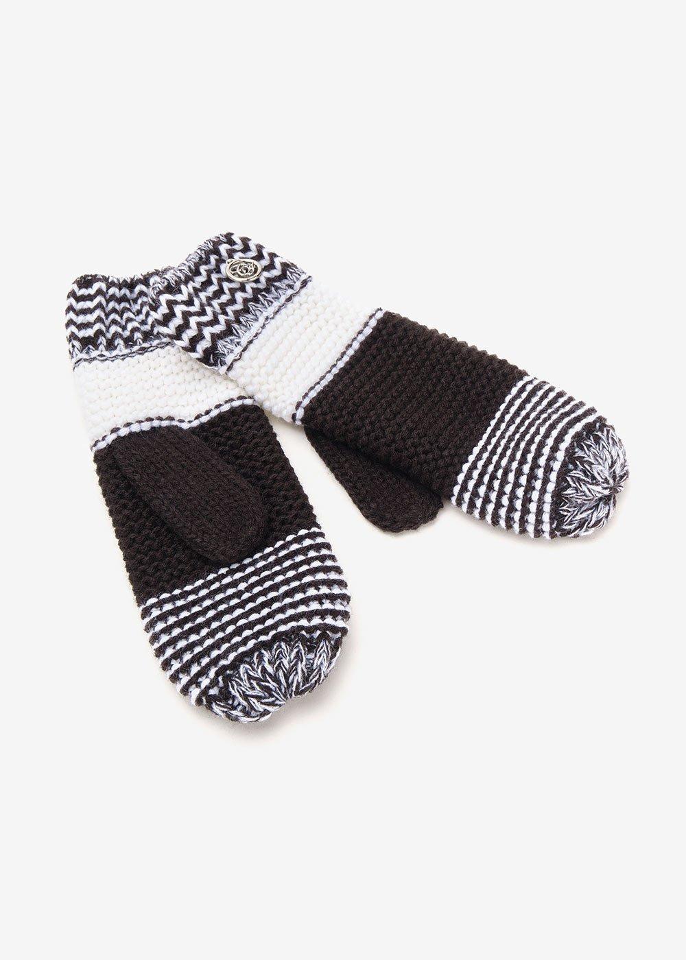 Guanti Gheren black&white - Black / White Stripes - Donna